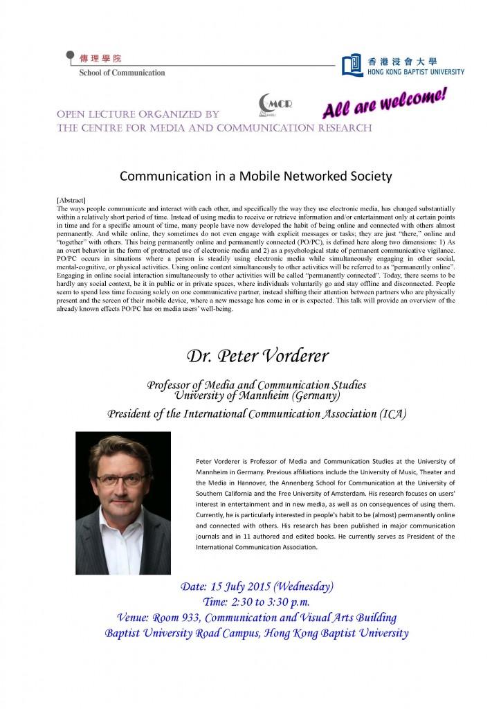 Peter Vorderer seminar